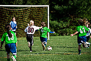 Youth soccer girl shoots soccer ball to the goal.