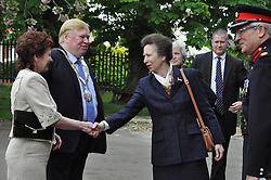 © Licensed to London News Pictures. 13/05/2015. Melton, UK Royal Visit by Princess Anne to the Melton Learning Hub on Burton Road in Melton. today 13th May 2015. Photo credit : Jonathan McGrady/LNP