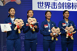 WUXI, July 27, 2018  Bronze-medalists players of South Korea celebrate during the awarding ceremony for women's sabre team competition at the Fencing World Championships in Wuxi, east China's Jiangsu Province, July 27, 2018. (Credit Image: © Li Bo/Xinhua via ZUMA Wire)