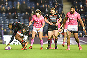 Junior Rasolea scores winning try of the European Rugby Challenge Cup match between Edinburgh Rugby and Stade Francais at Murrayfield Stadium, Edinburgh, Scotland on 12 January 2018. Photo by Kevin Murray.