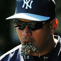 04 April 2015:  New York Yankees designated hitter Alex Rodriguez (13) throws sunflower seeds in his mouth prior to the start of the game at Nationals Park in Washington, D.C. in the final exhibition game where the New York Yankees defeated the Washington Nationals 4-3. (Photograph by Mark Goldman - Goldminephotos)