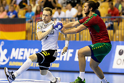 Luca Witzke of Germany during handball match between National teams of Germany and Portugal in game for Third place of 2018 EHF U20 Men's European Championship, on July 29, 2018 in Arena Zlatorog, Celje, Slovenia. Photo by Urban Urbanc / Sportida