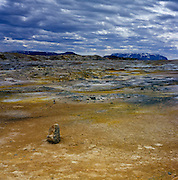 In the north of Iceland, near the Krafla volcano, Hverir is a volcanic wasteland