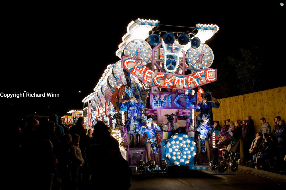 Photo of Checkmate by Wick Carnival Club at Bridgwater Guy Fawkes Carnival 2009. Fifth in the Feature Cart Open Class.