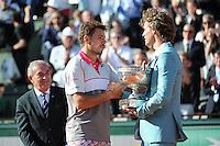 Jean GACHASSIN / Stanislas WAWRINKA / Gustavo KUERTEN  - 07.06.2015 - Jour 15 - Finale  - Roland Garros 2015<br /> Photo : Nolwenn Le Gouic / Icon Sport