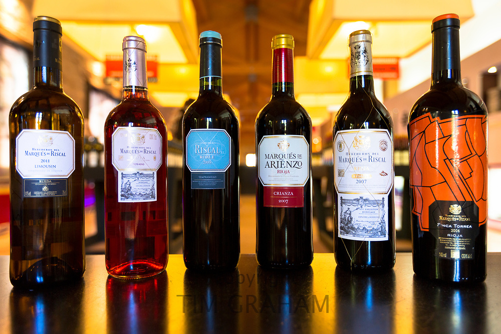Marques de Riscal Limousin 2011 wine, Rosado, Riscal Roble 2008 Tempranillo, Marques de Arienzo Crianza 2007,  Finca Torrea 2006, vintage in shop at the bodega winery at Elciego in Rioja-Alavesa, Spain