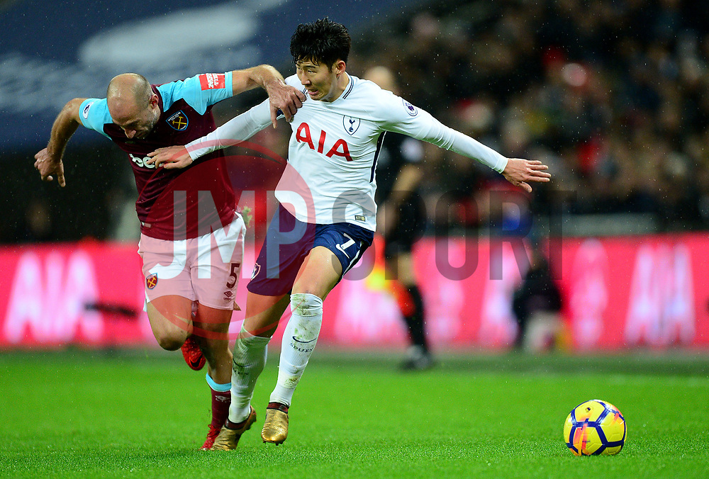 Son Heung-Min of Tottenham Hotspur battles for the ball with Pablo Zabaleta of West Ham United - Mandatory by-line: Alex James/JMP - 04/01/2018 - FOOTBALL - Wembley Stadium - London, England - Tottenham Hotspur v West Ham United - Premier League