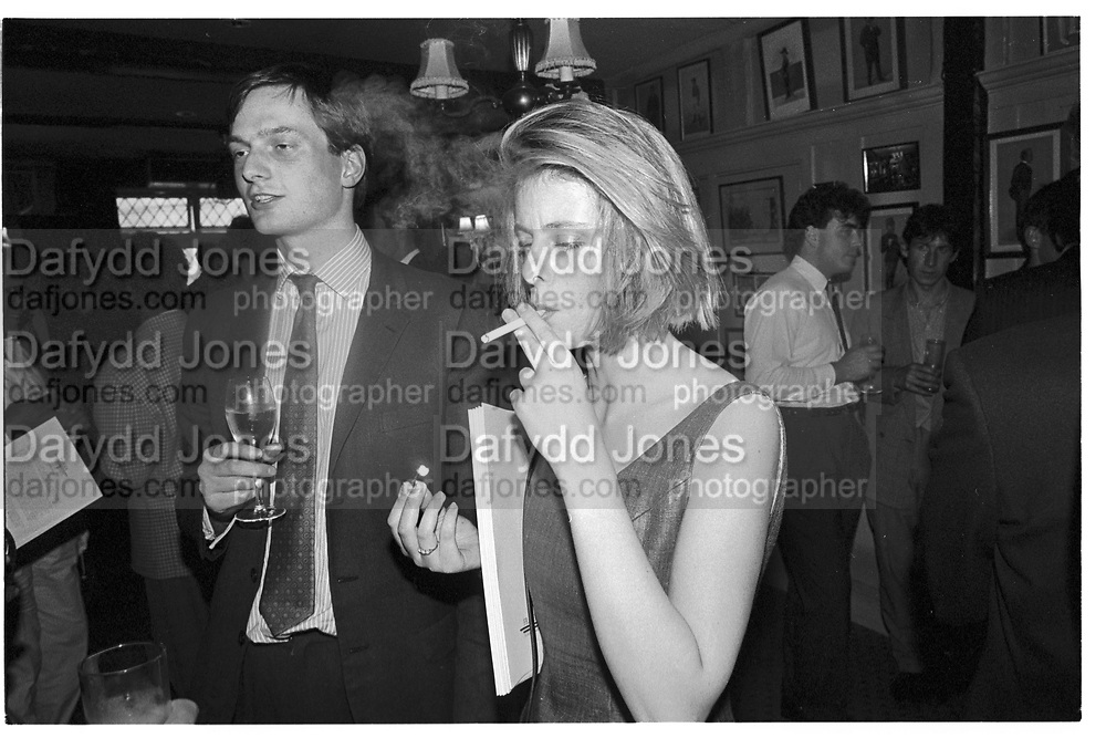 SOPHIE FRASER, Fraser Tailoring fashion show. Rules restaurant. London. 27 May 1987.<br /> SUPPLIED FOR ONE-TIME USE ONLY> DO NOT ARCHIVE. © Copyright Photograph by Dafydd Jones 248 Clapham Rd.  London SW90PZ Tel 020 7820 0771 www.dafjones.com