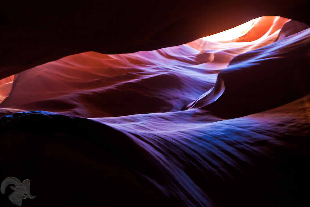 Beautiful colors are displayed in the sandstone walls of Antelope Canyon near Page, Arizona. The canyon is carved by water, wind and blowing sands.