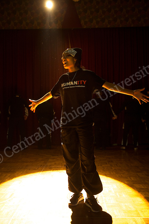 "Tyler Bradley's ""Humanity"" had a technical and dress rehearsal for the Unity Ball on Friday, January 22nd in the UC Rotunda.  Photo by Steve Jessmore/Central Michigan University"