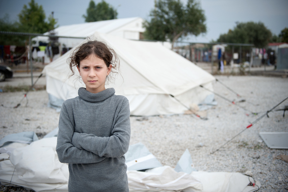 Maha 10 years old from Iraq in Kara Tepe camp in Lesvos, Greece