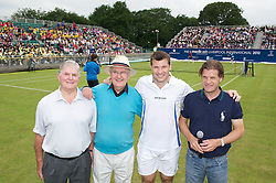 LIVERPOOL, ENGLAND - Wednesday, June 20, 2012: Tournament Referee Alan Mills, BBC Radio Merseyside's Alan Jackson, Barry Cowan and Tournament Director Anders Borg during a kids' day at the Medicash Liverpool International Tennis Tournament at Calderstones Park. (Pic by David Rawcliffe/Propaganda)