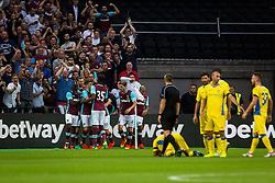 Players of West Ham celebrating goal during 2nd Leg football match between West Ham United FC and NK Domzale in 3rd Qualifying Round of UEFA Europa league 2016/17 Qualifications, on August 4, 2016 in London, England.  Photo by Ziga Zupan / Sportida
