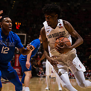 03 February 2018: The San Diego State Aztecs look to rebound after a couple losses against Air Force Saturday night. San Diego State Aztecs forward Jalen McDaniels (5) drives the ball along the baseline while being defended by Air Force Falcons forward Lavelle Scottie (12) in the second half. The Aztecs beat the Falcons 81-50 at Viejas Arena.<br /> More game action at www.sdsuaztecphotos.com