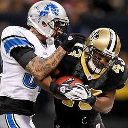 January 7, 2012; New Orleans, LA, USA; New Orleans Saints running back Darren Sproles (43) is tackled by Detroit Lions cornerback Aaron Berry (32) during the 2011 NFC wild card playoff game at the Mercedes-Benz Superdome. Mandatory Credit: Derick E. Hingle-US PRESSWIRE