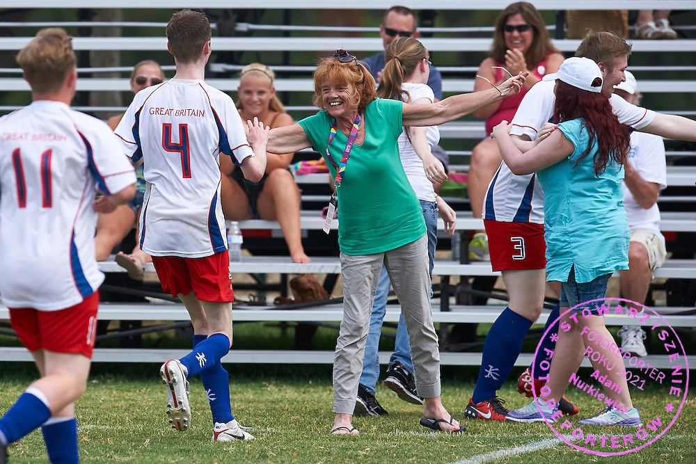 Unified Football match between SO Great Britain and SO  Austria during sixth day of the Special Olympics World Games Los Angeles 2015 on July 30, 2015 at Balboa Park in Los Angeles, USA.<br /> <br /> USA, Los Angeles, July 30, 2015<br /> <br /> Picture also available in RAW (NEF) or TIFF format on special request.<br /> <br /> For editorial use only. Any commercial or promotional use requires permission.<br /> <br /> Adam Nurkiewicz declares that he has no rights to the image of people at the photographs of his authorship.<br /> <br /> Mandatory credit:<br /> Photo by &copy; Adam Nurkiewicz / Mediasport