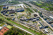 Nederland, Noord-Holland, Amsterdam, 09-04-2014; Watergraafsmeer met overzicht Amsterdam Science Park. Rechts de Carolina MacGillavrylaan en het NS emplacement met Kruislaan.<br /> Amsterdam Science Park in East of Amsterdam<br /> luchtfoto (toeslag op standard tarieven);<br /> aerial photo (additional fee required);<br /> copyright foto/photo Siebe Swart