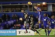 Birmingham City midfielder Stephen Gleeson (8) heads clear during the EFL Sky Bet Championship match between Birmingham City and Brighton and Hove Albion at St Andrews, Birmingham, England on 17 December 2016.
