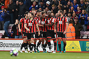 AFC Bournemouth Players Celebrate after AFC Bournemouth Midfielder, Dan Gosling (4) scores 6-1 during the Premier League match between Bournemouth and Hull City at the Vitality Stadium, Bournemouth, England on 15 October 2016. Photo by Adam Rivers.
