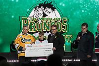 REGINA, SK - MAY 17: The Humboldt Broncos tribute at Mosaic Stadium on May 17, 2018 in Regina, Canada. (Photo by Marissa Baecker/Shoot the Breeze)