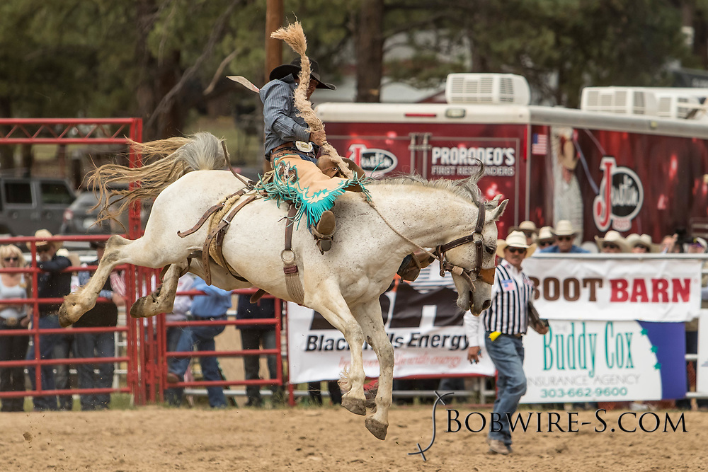 Saddle brond rider Tanner Lockhart rides Summit Pro Rodeo's Wigwam during the third performance of the Elizabeth Stampede on Sunday, June 3, 2018.