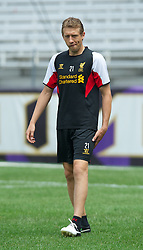 BALTIMORE, MD - Friday, July 27, 2012: Liverpool's Lucas Leiva during a training session ahead of the pre-season friendly match against Tottenham Hotspur at the M&T Bank Stadium. (Pic by David Rawcliffe/Propaganda)