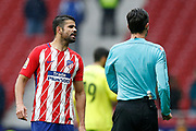 Atletico Madrid's Spanish forward Diego Costa talks to the referee during the Spanish Championship Liga football match between Atletico Madrid and Getafe on January 6, 2018 at the Wanda Metropolitano stadium in Madrid, Spain - Photo Benjamin Cremel / ProSportsImages / DPPI