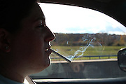 Hartford,CT. Nov. 09, 2013. Julia smokes a cigarette en route to her grandparents house in Irvington, NY. 11022013. Photo by Kayle Hope Schnell/NYCity Photo Wire