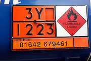 Hazchem signs on oil tanker