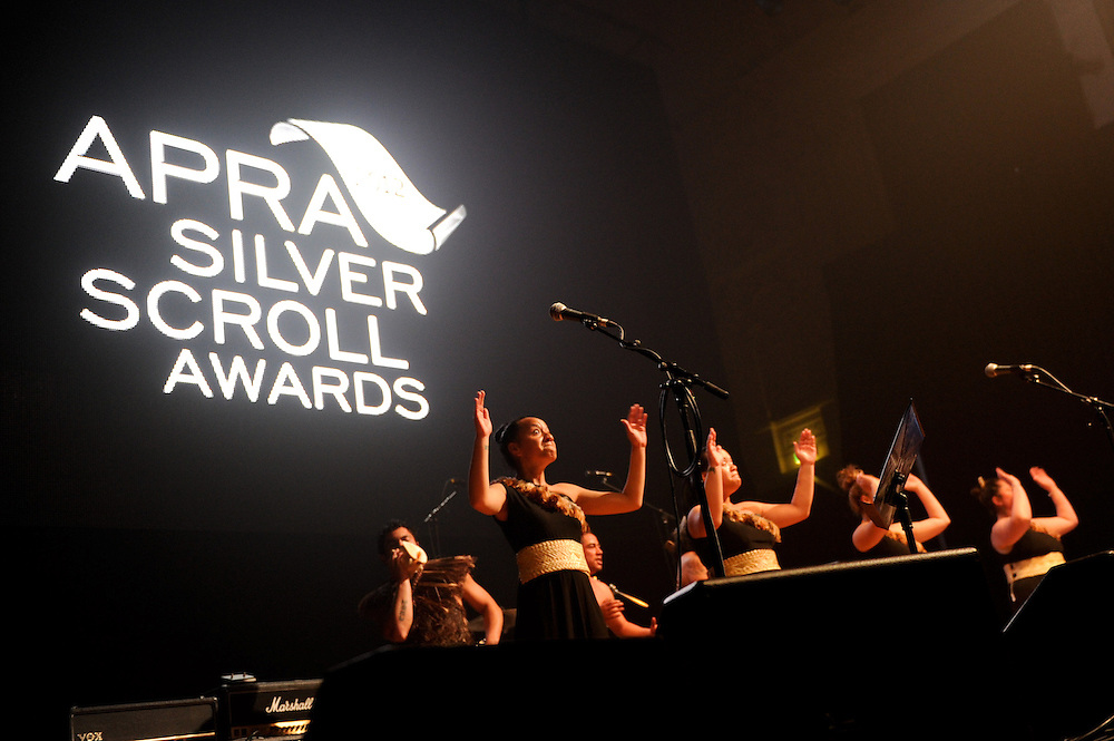 Kapa Haka group welcome guests with a Waiata at the start of the APRA Silver Scroll Awards 2012. Auckland Town Hall. 13 September 2012.