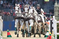 Dobrovitz Jozsef, HUN, Incitato Pandur, Kiskedves, Platon, Pottom<br /> FEI World Cup Driving Leg presented by Dodson & Horrell<br /> Olympia Horse Show -London 2016<br /> © Hippo Foto - Jon Stroud<br /> 16/12/16
