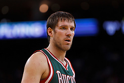 Mar 16, 2012; Oakland, CA, USA; Milwaukee Bucks point guard Beno Udrih (19) during a stoppage in play against the Golden State Warriors during the fourth quarter at Oracle Arena. Milwaukee defeated Golden State 120-98. Mandatory Credit: Jason O. Watson-US PRESSWIRE