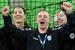 Andrea Seric, Tone Tiselj, head coach and Maja Son of Krim celebrate after the handball match between RK Krim Mercator and Larvik HK (NOR) of Women's EHF Champions League 2011/2012, on November 13, 2011 in Arena Stozice, Ljubljana, Slovenia. Larvik defeated Krim 22-19 but both teams qualified to new round. (Photo By Vid Ponikvar / Sportida.com)