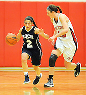 Council Rock North's Becca Margolis #2 dribbles the ball up court as  Boyertown's Maria Garofolo #20 defends in the second quarter Saturday February 13, 2016 at Boyertown High School in Boyertown, Pennsylvania. (Photo by William Thomas Cain)