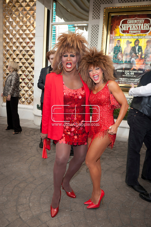 24th February 2011. Las Vegas, Nevada.  Celebrity Impersonators from around the globe were in Las Vegas for the 20th Annual Reel Awards Show. Pictured is Larry Edwards (left) and Samira as Tina Turner.  Photo © John Chapple / www.johnchapple.com