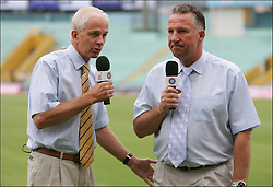 David Gower and Ian Botham chat on Sky during the first day of the second test between India and England at Mohali on the 9th of March 2006.Second Test match.India v England.Picture by  PHILIP BROWN.Mohali, Chandigarh