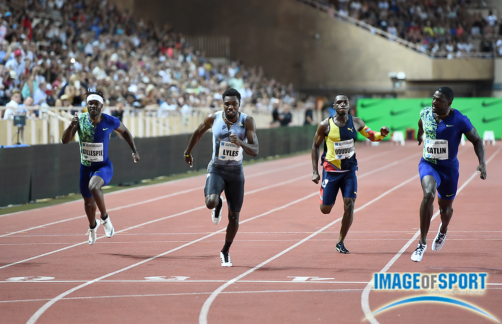 Justin Gatlin (USA), right, defeats Noah Lyles (USA), second from left, to win the 100m, 9.91 to 9.92, during the Herculis Monaco in an IAAF Diamond League meet at Stade Louis II stadium in Fontvieille, Monaco on Friday, July 12, 2019. From left: Michael Rodgers (USA), Lyles, Divine Oduduru (NGR) and Gatlin. (Jiro Mochizukii/Image of Sport)