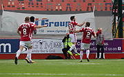 12th August 2017, SuperSeal Stadium, Hamilton, Scotland; SL Football league Hamilton Academicals versus Dundee; Hamilton's Steven Boyd celebrates after scoring for 2-0