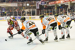 15.02.2015, Stadthalle, Klagenfurt, AUT, EBEL, EC KAC vs Moser Medical Graz99ers, Qualifikationsrunde, im Bild Kim Strömberg (EC KAC, #17), Oliver Latendresse (Moser Medical Graz 99ers, #44), Jake Marto (Moser Medical Graz 99ers, #25), Philipp Pinter (Moser Medical Graz 99ers, #78) // during the Erste Bank Icehockey League qualification round match betweeen EC KAC and Moser Medical Graz99ers at the City Hall in Klagenfurt, Austria on 2015/02/15. EXPA Pictures © 2015, PhotoCredit: EXPA/ Gert Steinthaler