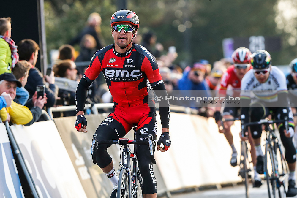 BELGIUM / GENT / GHENT / CYCLING / WIELRENNEN / CYCLISME / BELGIUM / KLASSIEKER / FLANDERS CLASSICS / GENT-GENT / 200,8 KM / OMLOOP HET NIEUWSBLAD / AANKOMST / ARRIVE / FINISH / (L-R) VAN AVERMAET GREG (BMC RACING TEAM) / BENOOT TIESJ (LOTTO SOUDAL) / SAGAN PETER (TINKOFF) /