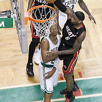 03 June 2012: Miami Heat small forward LeBron James (6) dunks the ball over Boston Celtics shooting guard Ray Allen (20) during the second half of Game 4 of the Eastern Conference Finals playoff series, Heat at Celtics, at the TD Banknorth Garden, Boston, Massachusetts, USA.