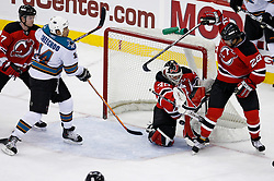 February 20, 2008; Newark, NJ, USA;  New Jersey Devils goalie Martin Brodeur (30) makes a save during the third period at the Prudential Center in Newark, NJ.  The Devils beat the Sharks 3-2.