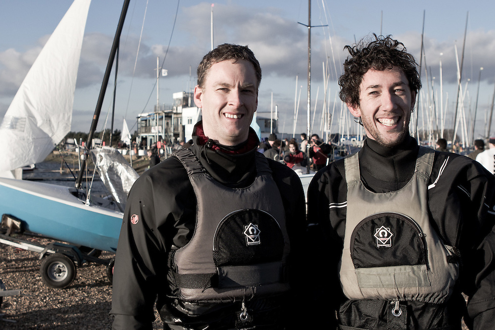 ENGLAND, London, Queen Mary Sailing Club. 8th January 2011. Bloody Mary pursuit race. Roger Gilbert (left) and Ben McGrane winners of the 2011 Bloody Mary.