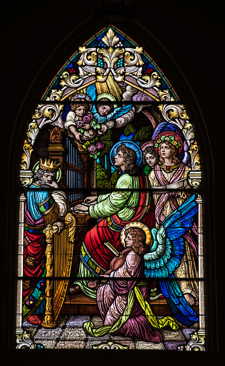 St. Cecilia, patron saint of musicians, is pictured in a stained glass window at St. Mary Church in Bear Creek, Wis. (Sam Lucero photo)