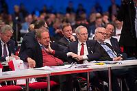 DEU, Deutschland, Germany, Berlin, 07.12.2017: Verdi-Chef Frank Bsirske und IG-BCE-Chef Michael Vassiliadis beim Bundesparteitag der SPD im CityCube.