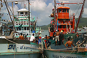 Local Fishermen preparing to leave the port of Nathon in Koh Samui, Thailand. The fisherman go out in evenings to catch squid at night time.