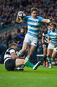 Twickenham, United Kingdom, Saturday, 1st December, 2018, RFU, Rugby, Stadium, England, Puma's, 14 Sebastian Cancelliere, scoring the opening try, while, Baa-Baas, 14 Tommaso Benvenuti, hangs on to the ankle, during the, Killik Cup match at Twickenham, Baa-Baas vs Argentina, © Peter Spurrier