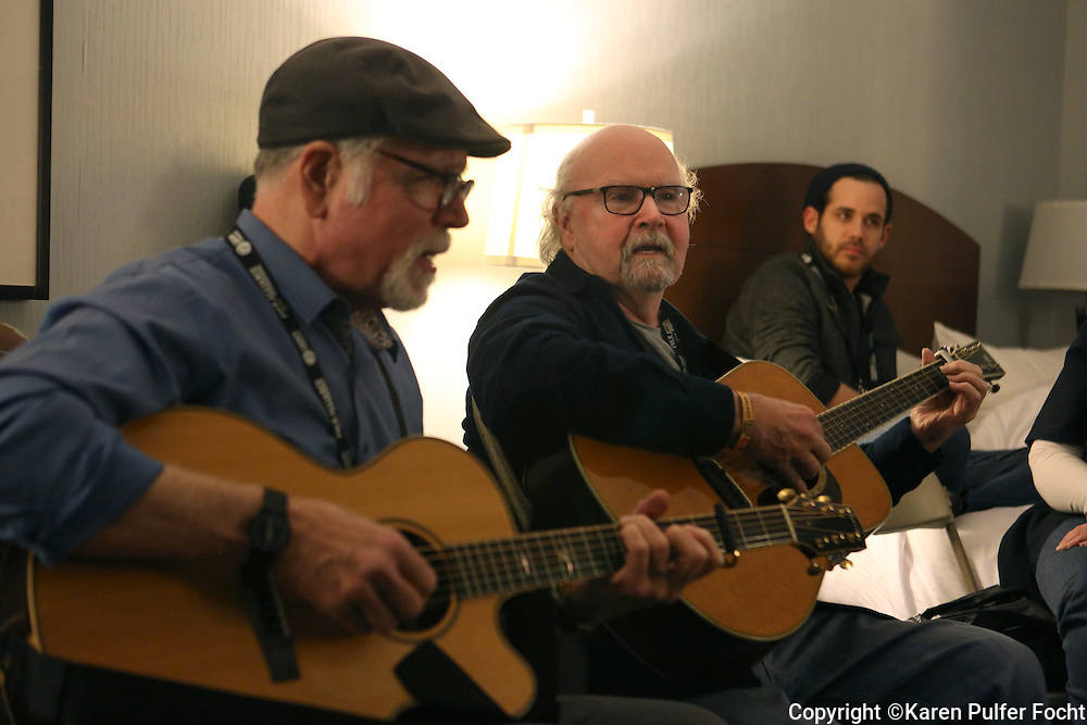 Tom Paxton (center) and John McCutcheon at the Folk Alliance Conference in Kansas City, Missouri Feb 17-19, 2017.