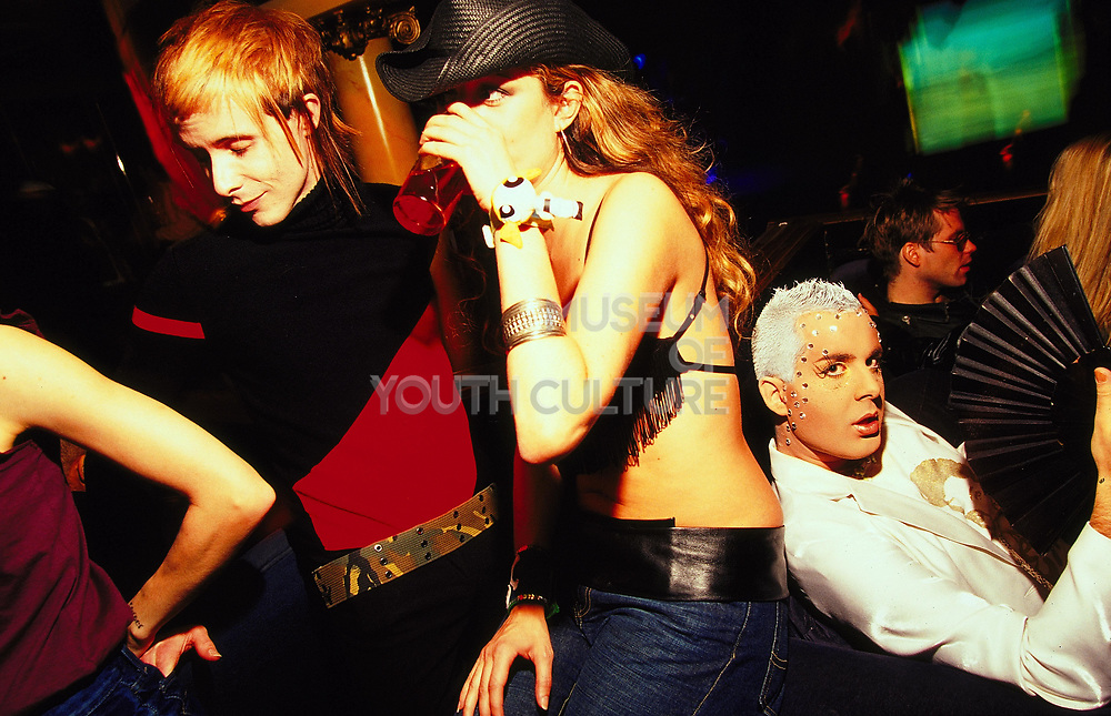 Group at a club chilling out, UK, 2000