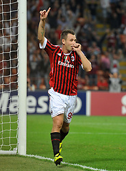 28.09.2011, Stadion Giuseppe Meazza, Mailand, ITA, UEFA CL, Gruppe H, ITA, UEFA CL, AC Mailand (ITA) vs FC Viktoria Pilsen (CZE), im Bild Esultanza dopo il gol di Antonio Cassano.Antonio Cassano celebrating scores 2-0 goal.. // during the UEFA Champions League game, group H, AC Mailand (ITA) vs FC Viktoria Pilsen (CZE) at Giuseppe Meazza stadium in Mailand, Italy on 2011/09/28. EXPA Pictures © 2011, PhotoCredit: EXPA/ InsideFoto/ Alessandro Sabattini +++++ ATTENTION - FOR AUSTRIA/(AUT), SLOVENIA/(SLO), SERBIA/(SRB), CROATIA/(CRO), SWISS/(SUI) and SWEDEN/(SWE) CLIENT ONLY +++++